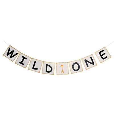 WILD ONE Baby First Birthday Party Decor Banner Garland Photo Prop Hanging Sign - First Birthday Signs