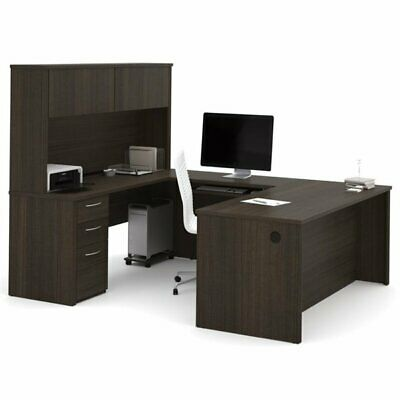 Pemberly Row 71 U Shaped Computer Desk With Hutch In Dark Chocolate
