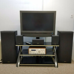 "37"" LCD TV With 3 Tier Glass Stand and 5 Speakers - $150"