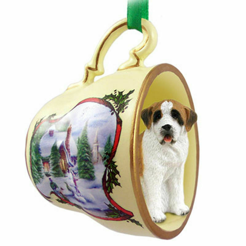 Saint Bernard Christmas Teacup Ornament Rough