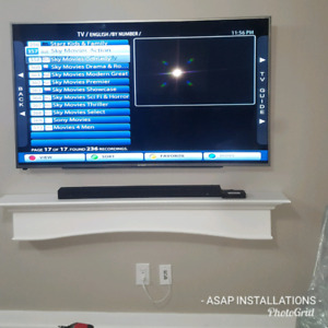 FLOATING SHELVES TV MOUNTING PROJECTOR AND SCREEN INSTALLATION