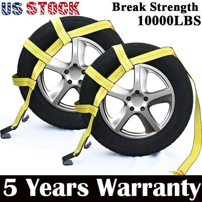 Car Tire Tow Dolly Straps Basket Strap w/ Flat Hook Heavy Duty Set of 2 Yellow