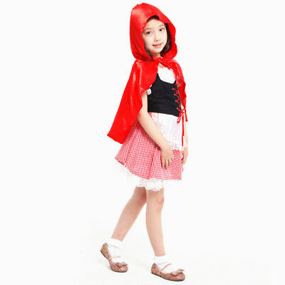 Halloween Little Red Riding Hood Casual Fancy Dress Kids Girls Costume - Halloween Little Red Riding Hood Kids