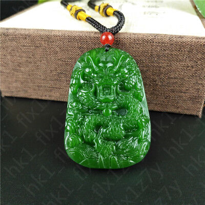 Green Jade Dragon Pendant Jadeite Necklace Lucky Amulet Fashion Charm Jewelry Dragon Green Jade Necklace