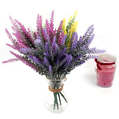 25 Heads Artificial Flowers Lavender Fake Bridal Bunch Wedding Party Home - Lavender Decorations