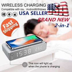 US Wireless Charger Fast Charging Dock For Apple iPhone 11 Pro Android + Clock