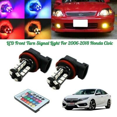 1Pair RGB Remote Wireless H8 H11 LED Fog Lights Bulbs For 2006-2018 Honda Civic](Lights For Decorations)