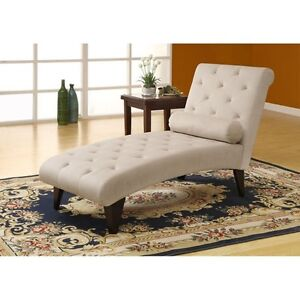 Coaster Chaise Lounge with Button Vanilla Fabric