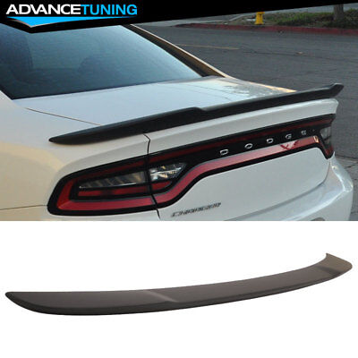 Lip Mount Spoiler - Fits 15-18 Dodge Charger SRT8 Hellcat Flush Mount Trunk Spoiler Matte Black ABS