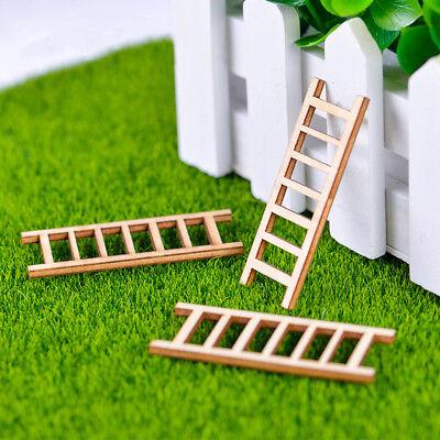 4 PCS Dollhouse Miniature Fairy Garden Wood Step Ladder Furniture Tools Decor