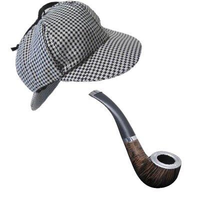 Sherlock Holmes HUT DEERSTALKER MIT PFEIFE Detektiv Kostüm Zubehör - Sherlock Holmes Kostüm