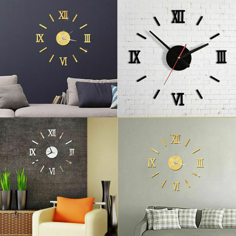 Home Decoration - New Modern DIY Large Wall Clock 3D Mirror Surface Sticker Home Office Room Decor