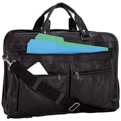 "New Black Genuine 16.5"" Leather Laptop Shoulder School Bag Attache Briefcase"