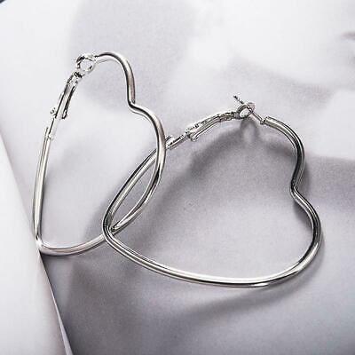 Unique Elegant Pure 925 Sterling Silver Heart Shape Hoop 2