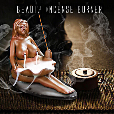 Naked Lady Ceramic Incense Burner Smoke Backflow Cone Nude Glaze Censer Holder