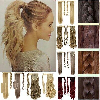 Blond Pferdeschwanz Ponytail Clip in Hair Extensions Ein Tressen Haarperücke Rot (Perücke Hair Extensions)