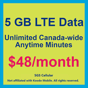 Koodo 5GB Data Plan for $48/month! No Contract! Keep Your Number