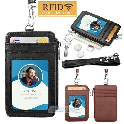 ID Badge Card Holder PU Leather Vertical Clip Neck Strap Lanyard Necklace Case - Lanyard Holder