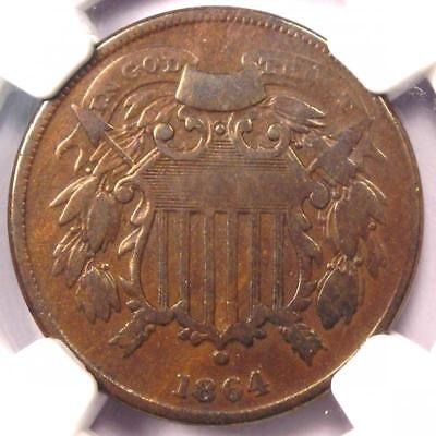"""1864 """"Small Motto"""" Two Cent Coin 2C - NGC Fine Details - Rare Small Variety!"""