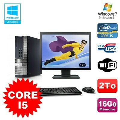 Lot PC Dell 7010 SFF Core I5 2400 3.1GHz 16Go Disque 2To Wifi W7 + Ecran 17