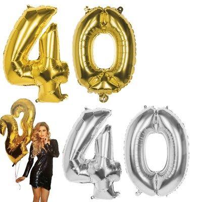 40 Geburtstag Ballons (40.Geburtstag XXL FOLIENBALLON Zahl 86cm Gold /Silber Helium Luftballon Jubiläum)