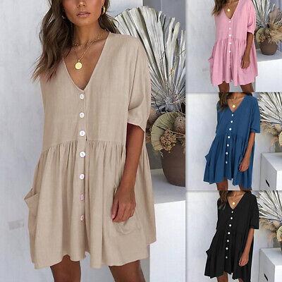 Plissee Damen Tasche (Damen Frauen Kurzarm V-Ausschnitt Knöpfe Tasche Baggy Freizeit Minikleid Kleid)