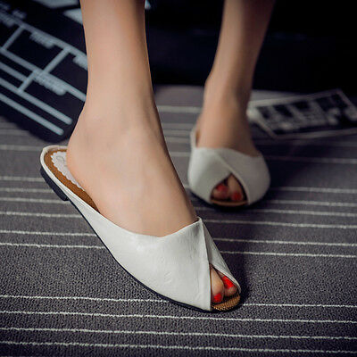 Summer Leisure Female Slippers Peep-toe Leather Women PeepToe Flip Flops Sandals