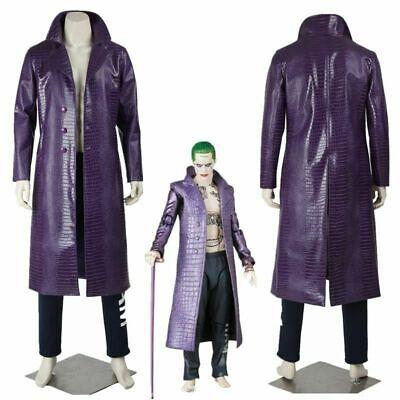 Neu Herren Jared Leto Joker Kostüm Lila Mantel Hose Selbstmordkommando Cosplay