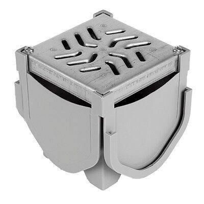 Source 1 Drainage Trench & Driveway Channel Drain Quad Connector w/ Steel Grate Bath