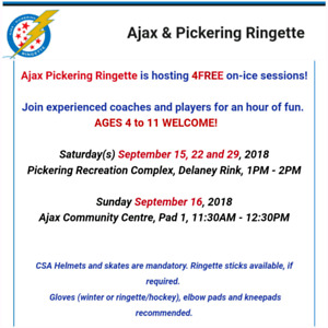 Come Try Ringette for Free.