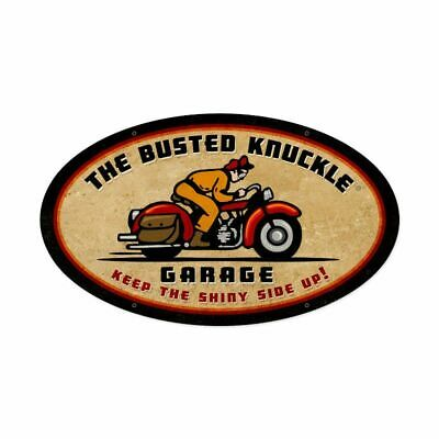"THE BUSTED KNUCKLE GARAGE BIKE RIDER 24"" OVAL HEAVY DUTY USA MADE METAL AD SIGN"