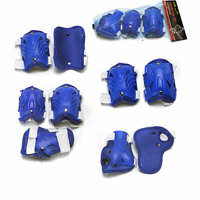 Roller Skating Skateboard Knee Elbow Wrist Protective Guard Pads Gear Kids Blue