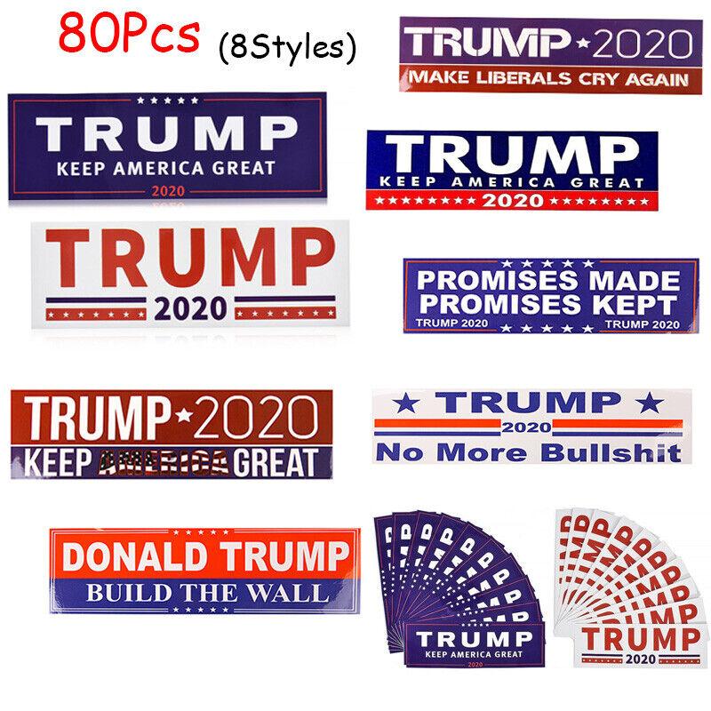 80Pcs Mix Set Trump 2020 USA President Keep Make America Great Car Stickers aa