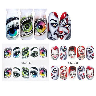 2 Sheets Halloween Nail Water Decals Gothic Clown  Transfer Stickers DIY](Diy Halloween Nails)