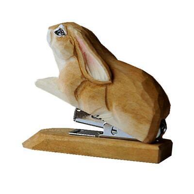 Cute Handmade Carving Wood Rabbit Staplers School Office Stationery