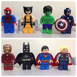 All 8 SUPER HERO Lego Men Figures - Batman, SpiderMan, AVENGERS