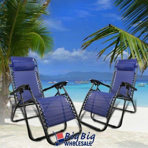 2 Zero Gravity Chairs Folding Lounge Outdoor Recliner Patio Beach Mesh Fabric
