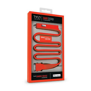 TYLT Band Red Flat Silicone Dual-charging Apple/USB Car Charger