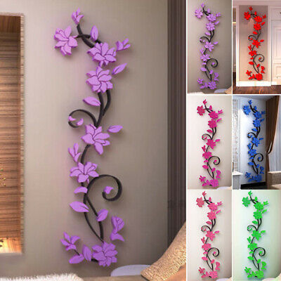 Home Decoration - Flower Wall Sticker Acrylic Home Room Decor Decal Beautiful 3D Rose Hot Newest