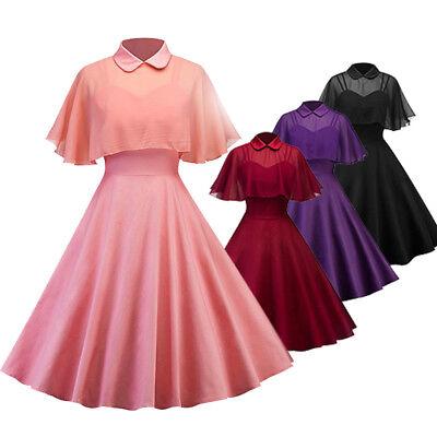 Women Vintage 50s Cloak Straps Formal Wedding Cocktail Evening Party Swing Dress