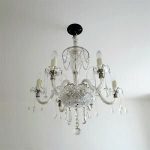 Antique circa 1920's Crystal Chandelier Six Arm