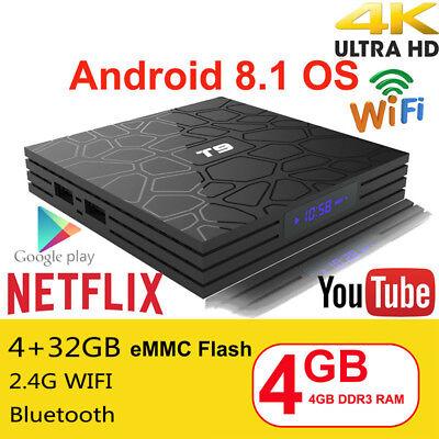 NEWEST 2018 Android 8.1 TV Box T9 4GB RAM 32GB ROM Quad Core Wifi 4K Media D4Q7I