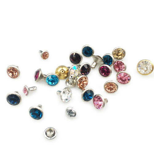 100Set 6/8mm CZ Crystals Rhinestone Rivets Diamond Studs For Leathercraft DIY
