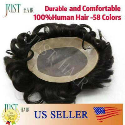 Mens Black Wigs (Mens Toupee Hairpiece Mono Poly Black Brown Remy Indian 100%Human Hair Wigs)