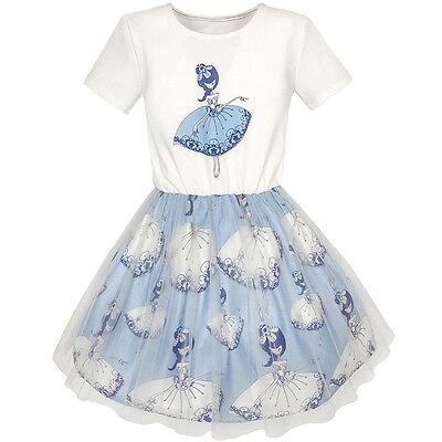 Short Sleeve Tutu - Girls Dress Dancing Girl Print Tutu Short Sleeve Sundress Size 5-10
