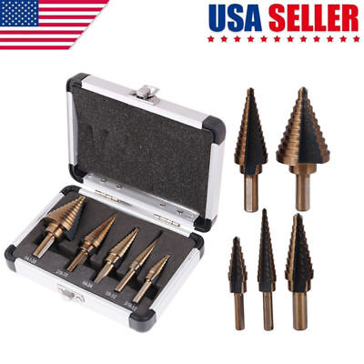5pcs/Set HSS Large Cobalt Hole Titanium Cone Step Drill Bit Cutter Tools