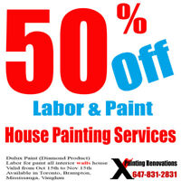 50% OFF House Painting Service For All Interior Walls
