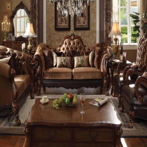 Sofa & Loveseat Set Living Room Furniture Royal Design Traditional Brown Sofa
