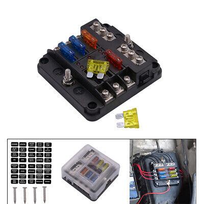 Automotive 6 Way Power Distribution Blade Fuse Box Panel w/ LED Indicator light