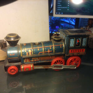 Vintage Western Engine Train Modern Toy Litho Tin Toy